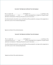 Request Letter For No Objection Certificate Format