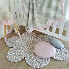 cloud felt ball rug baby pink dove grey white