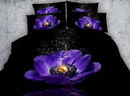 black bed sheets with mystic purple flower bedding set hd digital purple duvet covers single queen super king size bedlinen black duvet covers duvet sets