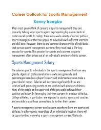 Sports Management Careers Kenny Iroegbu Career Outlook For Sports Management By