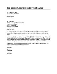 Offer Acceptance Email Sample Fillable Online Job Offer Acceptance Letter Sample Miami