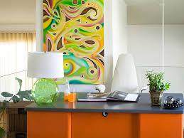 ideas work office wall. contemporary wall pretty canvas portray added white wall painted and modern orange hardwood  office desk with shade lamps as decor ideas on work