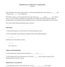 Apartment Sublease Template Residential Subtenancy Agreement Sample Template