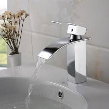 elite modern bathroom sink waterfall faucet chrome finish c