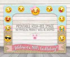 printable emoji birthday party photo booth frame glitter emoji party photobooth frame