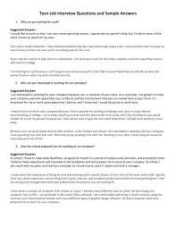 How To Answer Job Interview Questions Teen Job Interview Questions And Sample Answers