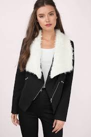 fanciful black faux fur wool jacket