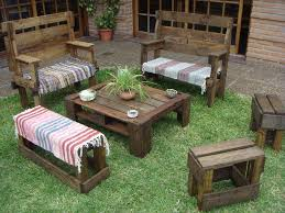 rustic wooden pallet patio set