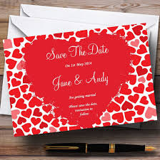 Red Save The Date Cards Red And Pink Romantic Hearts Personalised Wedding Save The Date Cards