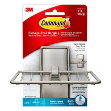 command satin nickel stainless steel bathtub caddy