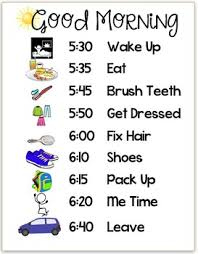 Good Morning Routine Chart Schedule Editable