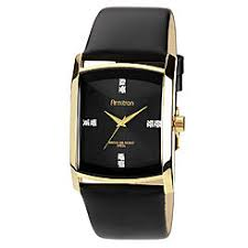 armitron men s watches sears armitron mens watch w goldtone case swarovski crystal black dial and leather band