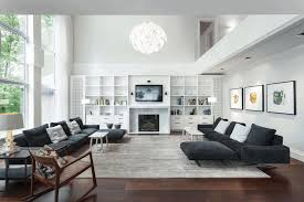 modern small living room ideas black white leather lounge sectional couch contemporary mid century modern sofa white surround fireplace mantel bronze accent