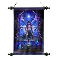 Design Toscano Immortal Flight Gothic Fairy Canvas Wall Scroll ...