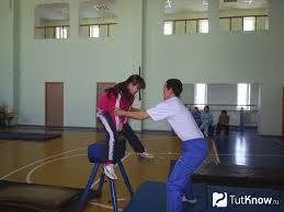 Техника выполнения прыжков через козла Девушка выполняет прыжок через козла