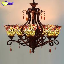 vintage stained glass light fixture chandelier style brief purple orchid art lamp for living room kitchen stained glass