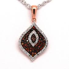 1 3ctw red and white diamond pendant 10k rose gold