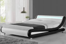 madrid led lights modern designer black white double king size bed frame