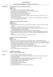 Senior / Lead Software Engineer Resume Samples | Velvet Jobs