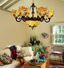 makenier vintage tiffany style stained glass deep yellow rose flower 6 arms chandelier with 12 inches inverted ceiling pendant lamp