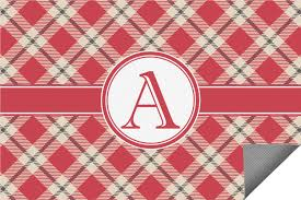 red tan plaid indoor outdoor rug personalized