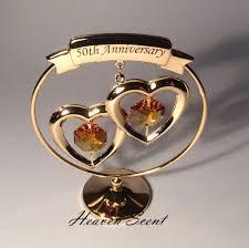 50th golden wedding anniversary gift ideas gold plated swarovski crystals sp250 714573358443 ebay
