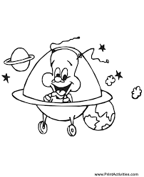 Small Picture Alien Coloring Page A Happy Alien in a Spaceship