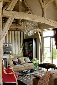 french country decor home. French Country Home Decorating With Brocante Charm And Red Accents. Living Room Design Wntique Wood Beams, Vintage Furniture Crystal Chandelier Decor