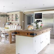 white country kitchen with butcher block. Country Kitchen With Large Butcher\u0027s Block Island | Decorating White Butcher C