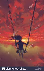 Painted Sky Designs Swings Surreal Concept Of The Mysterious Woman Sitting On The Swing