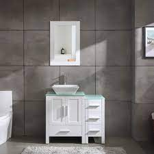 Amazon Com 36 White Bathroom Vanity Cabinet Wood With Glass Top Vessel Sink W Mirror Faucet And Drain Kitchen Dining