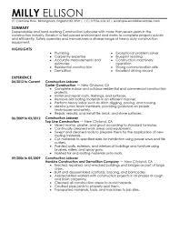 resume sample for construction worker sample resume for construction worker