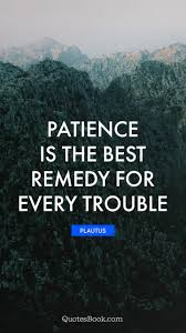 Patience Is The Best Remedy For Every Trouble Quote By Plautus