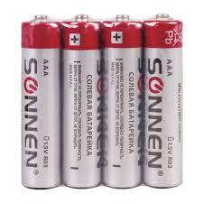 <b>Батарейки SONNEN</b>, AAA (R03, 24А), солевые, КОМПЛЕКТ 4 шт ...