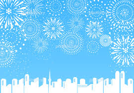 花火 都市 ブルー背景 イラスト素材 5491097 フォトライブラリー
