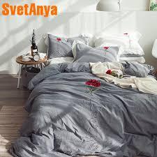 svetanya 3d rose embroidery bedding set pure cotton bed linen queen king size bedsheet pillowcases duvet cover sets gray cotton duvet covers king king duvet