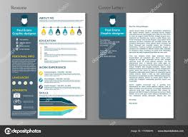 Resume Cover Letter Flat Style Design Grey Background Set