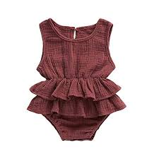Amazon Com Cleeyys Ruffle Rompers For Baby Girls Sleeveless