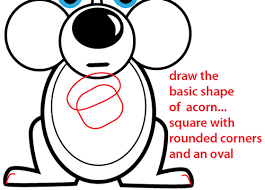 Small Picture How to Draw a Cartoon Squirrel Holding an Acorn with Simple to