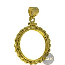 solid 14k gold coin bezel pendant 10 1 4 oz gold eagle 22mm diamond cut rope edge