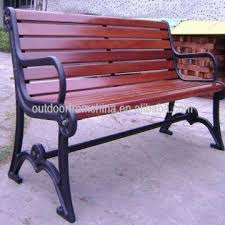 cast iron solid wood patio bench