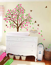 vinyl wall decal tree wall decals green and pink leaves tree wall decal with birds nature
