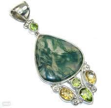 secret orient green moss agate sterling silver pendant zdjęcie 1