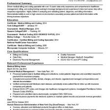 Sample Resume For Entry Level Medical Billing New Medical Coder ...