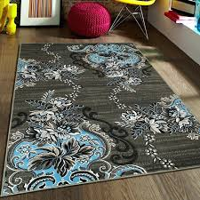 blue gray area rug rugs contemporary modern boxes grey