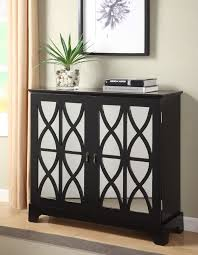 black console table with storage. Powell Black Console With Mirrored Glass Doors - 246-254 $389.00 Table Storage T