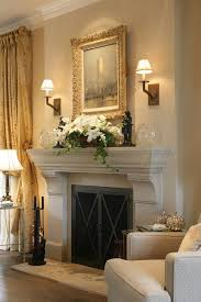 houzz fireplace mantels living room transitional with light wood floor dining chairs