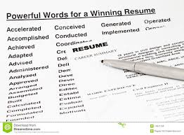 Powerful Words For Winning Resume Royalty Free Stock Photos