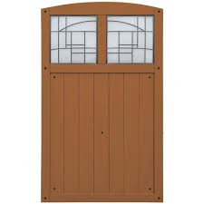 wood fence gate with faux glass insert