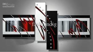 stretched contemporary abstract oil painting canvas black white red artwork modern decoration handmade home office hotel wall art decor gift canada 2018